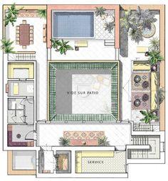 Plan of villa ground floor oasis bab atlas marrakech moroccan home style - Plan maison avec patio ...