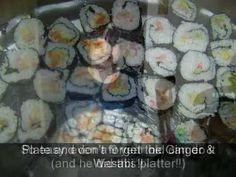 Sushi Rolls...veggie and seafood. If you don't have a sushi rolling mat, just use a magazine covered with saran wrap!  GET THE RECIPE HERE:  http://doreenskitchen.com/SushiRolls.html  CHECK OUT:   CD Cookbook over 350 pages with BONUS Magic Pan Crepe Recipes http://doreenskitchen.com/index.html