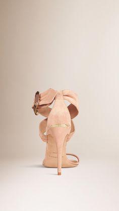 Buckle Detail Suede Sandals Pale Sable | Burberry
