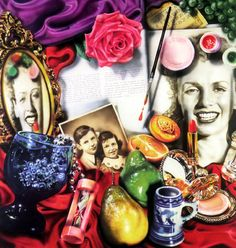 This painting again has bright and bold contrasting colours and is very busy, with lots of objects to look at