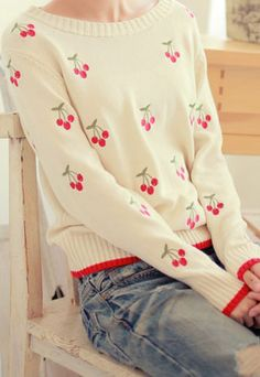 usd29.99/Image of [grzxy6600420]Leisure Cute Sweet Cherry Embroidered Mixing Color Sweater