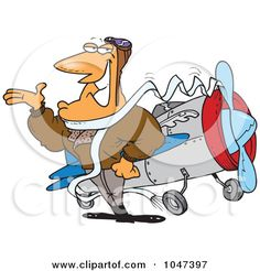 Royalty-Free (RF) Clip Art Illustration of a Cartoon Handsome Pilot by Ron Leishman