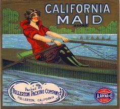 Fullerton California Maid Canoe Orange Citrus Fruit Crate Label Art Print   Collectibles, Advertising, Merchandise & Memorabilia   eBay!