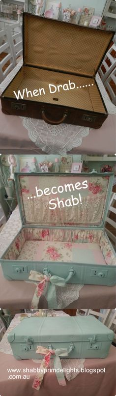 Awesome DIY Shabby Chic Furniture Makeover Ideas Vintage Suitcase Makeover Give the old suitcase a pretty and feminine look with some turquoise paints and some floral fab. Shabby Chic Mode, Cocina Shabby Chic, Casas Shabby Chic, Estilo Shabby Chic, Shabby Chic Bedrooms, Shabby Chic Kitchen, Vintage Shabby Chic, Shabby Chic Style, Shabby Chic Decor