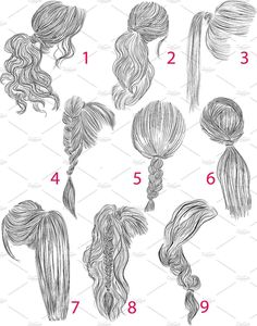 Ponytail Vector Hairstyles Set # Braids # Loose # Inspiration # Perfect, Ponytail Vector Hairstyles Set # Braids # Loose # Inspiration # Perfect, There's really no disadvantage to flipping via a springtime head of hair pattern report. How To Draw Braids, How To Draw Hair, Ponytail Drawing, Braid Drawing, Drawing Hair Tutorial, Perfect Ponytail, Loose Ponytail, Loose Braids, Hair Sketch