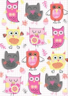 owl print ♥ by Genine Delahaye Owl Wallpaper, Pattern Wallpaper, Owl Pictures, Owl Always Love You, Owl Print, Cute Owl, Pretty Patterns, Pattern Illustration, Surface Pattern Design
