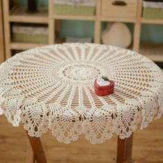 Hand crochet pineapple pattern table cover, handmade coffee table cover, night stand cover, refrigerator cover, round crochet for home decor Crochet Tablecloth Pattern, Crochet Doily Rug, Crochet Doily Patterns, Crochet Round, Hand Crochet, Coffee Table Cover, Table Covers, Pineapple Crochet, Pineapple Pattern