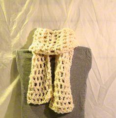 Double crochet, 8 stitch, cream coloured scarf