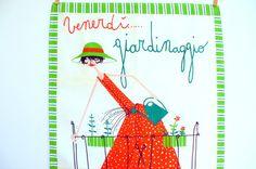 I love Milvia! Vintage Milvia Tea Towel Friday Gardening / Linen by BirdinHandVTG,