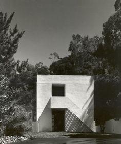 white concrete modernist house