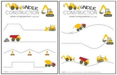 Construction Truck Scissor Cutting Practice Sheets (printable) - Makeovers & Motherhood