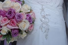 bouquet and wedding gown