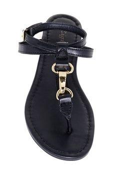 Black & Gold Thong Sandal