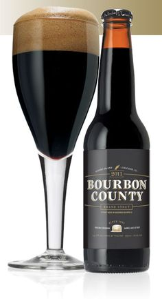 Bourbon County Stout by Goose Island Brewed in honor of the 1000th batch at our original Clybourn brewpub. A liquid as dark and dense as a black hole with thick foam the color of a bourbon barrel. The nose is an intense mix of charred oak, chocolate, vanilla, caramel and smoke. One sip has more flavor than your average case of beer.