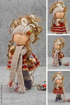 Best 12 Christmas Winter Doll, New Year Gift Doll, Tilda Rag Doll, Interior Decor Doll, Baby Art Doll Nursery Love Doll Portrait Red Doll by Alena R Red Dolls, Pink Doll, Baby Winter, Summer Baby, Baby Art, New Year Gifts, Soft Dolls, Fabric Dolls, Baby Dolls