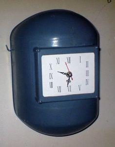 Old welding helmet clock.