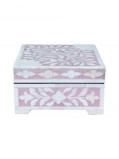 Small pink bone inlay box