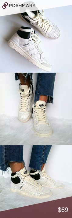 A d i d a s// top ten snake pack sneakers Brand new Adidas top ten snake pack sneakers.   Size: 7.5 Leather upper Perforated toe area  New without box  This legendary hi-top sneakers features full grain leather upper, a semi-shiny synthetic ankle insert and herringbone-pattern outsole. adidas Shoes Sneakers