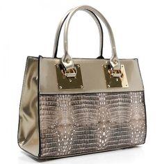 Croc Glossy Designer Inspired Box Satchel – Handbag-Addict.com