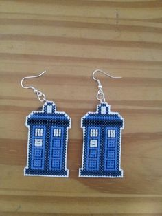 CUSTOM FOR JEN Pair of Tardis earrings Doctor Who cross stitch. $5.00, via Etsy.