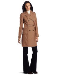 Kenneth Cole New York Women's Double Breasted Wool Coat, Saddle, 8