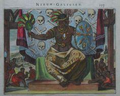 1671 Original 1st ED Arnoldus Montanus View Warrior Indian Chief North America | eBay