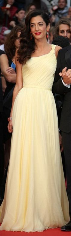 Amal Clooney: Dress – Versace Earrings – Cartier Shoes – Jimmy Choo