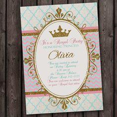 Gold, tiffany blue & pink, Royal Princess Party Invitation