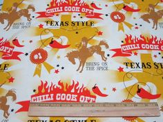 Texas Style Chili Cook Off Fabric by by Loriscountryfabrics, $8.95