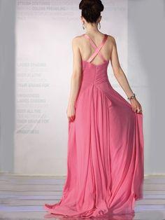 2012 Spring Style Sheath / Column V-neck  Beading  Sleeveless Floor-length Chiffon Pink Prom Dress / Evening Dress