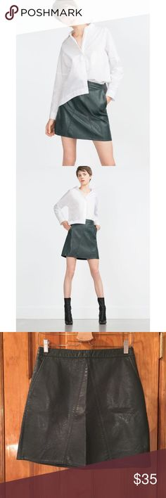 """30% OFF BUNDLES Zara Faux Leather Mini Skirt EUC The """"it girl"""" mini skirt from Zara. Just put on your best kicks and a white tee and voila. You slay! 🤛🏼 Waist:14"""" Length:17.5"""" All measurements are taken with the item laid flat.  Excellent Used Condition. LIKE NEW. Material: See photos Color: Green 30% off on bundles. I ship same-day from pet/smoke-free home. Buy with confidence. I am a top seller with over 500 5-star ratings and A LOT of love notes. Check them out! 😊😎 Zara Skirts Mini"""