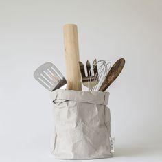 uashmama washable paper bag grey | the future kept.