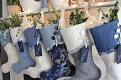 2014 Christmas Stocking Round-up - South House Designs Coastal Christmas Stockings, Traditional Christmas Stockings, Blue Christmas Stocking, Blue Christmas Decor, Christmas Mantels, Christmas Sewing, Handmade Christmas, Christmas Holidays, Christmas Crafts