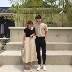 Matching Couple Outfits, Matching Couples, Ulzzang Couple, Ulzzang Girl, Korean Couple Photoshoot, Korean Best Friends, Stylish Outfits, Fashion Outfits, Couple Photography Poses