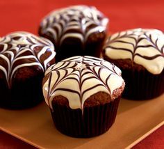 Spider web chocolate fudge muffins. Special Hallowe'en chocolatey bakes for lucky trick or treaters - you can make ahead and freeze