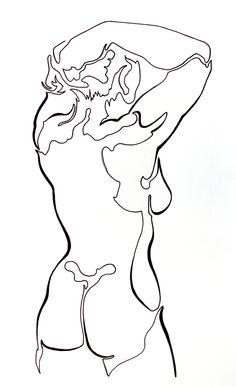 Single line study of a beautiful model. You can keep your sunsets and mountain ranges - my favorite landscapes are found in the human body :) - bentleyartist.com
