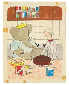 Laurent de Brunhoff, Illustration for Lesson 7 in Babar's Spanish Lessons, gouache, watercolor and ink on stiff illustration paper, circa 1965