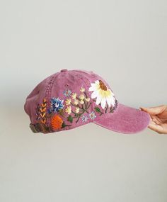 Hand Embroidered Hat Custom Embroidered Baseball Cap for Women Christmas  Gift for Mom Flower Hat wit a2b8682daac