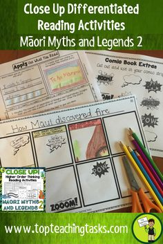 This Maori Myths and Legends (Volume Two) differentiated reading comprehension resource includes FOUR Year Five and Six fiction literature passages with six engaging text dependent higher order thinking tasks - perfect for reading comprehension! These pri