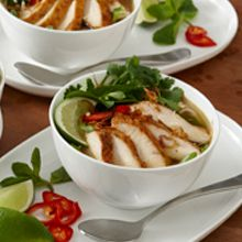 The complex flavor of this sweet and sour chicken broth bowl make it a favorite lunch or dinner option. Garnish with chili peppers, cilantro, mint and bean sprouts.