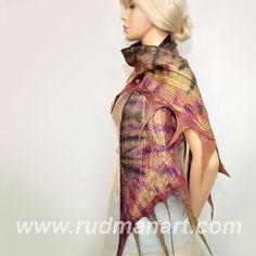 Felted Scarf Wool Silk Felt Art nunofelting hand dyed by RudmanArt, $79.00