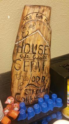 Scrap Wood Decor for Coffee House feel