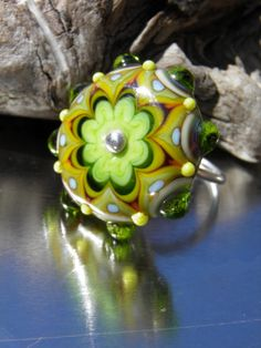 Green Sterling Silver and Lampwork Ring by RASPBERRYRINGS on Etsy, £29.50
