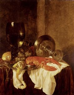 Abraham Hendrickz. van Beijeren (Dutch, c. 1620-1690)   Still Life with a Lobster -  Ashmolean Museum