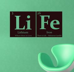 So cool ***Periodic table of elements LIFE Vinyl wall decal - with Gandhi quote. $15.00, via Etsy.