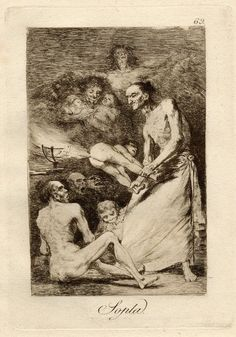 Sopla (Blow) / Los Caprichos  Museum number: 1975,1025.171  Description  Plate 69: group of witches, some eating children, one standing holding a small figure who is breaking wind towards a torch; from an unbound album of trial proofs. 1799 Etching, aquatint, drypoint and burin  Producer name: Print made by: Francisco de Goya  Date: 1799