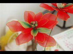 DIY Instruction Make Nylon Flower - Poinsettia for Christmas, Holiday Decoration Craft