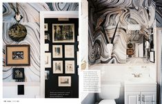 obsessed with this marble paper for the walls - perfect for small spaces // Lonny August 2012 | Lonnymag.com