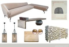"""Swan Back Sofa by Vladimir Kagan 1950s, """"Play Hard 1″ Sarah Smelser 2009, """"Concrete Day Bed with Ceramic Pillow"""" by Hun-Chung Lee, Ceruse """"Spike"""" Sideboard by R. Mapache 1980s, Pair of Ball Chain Lanterns, Fendi Wood, Leather and Canvas Bag circa 1970, YSL Oversized Tortoise Shell Sunglasses 1970s #furniture #design #interiors"""