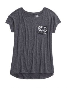 Shop Sequin Pocket Long Tee and other trendy girls graphic tees clothes at Justice. Find the cutest girls clothes to make a statement today.